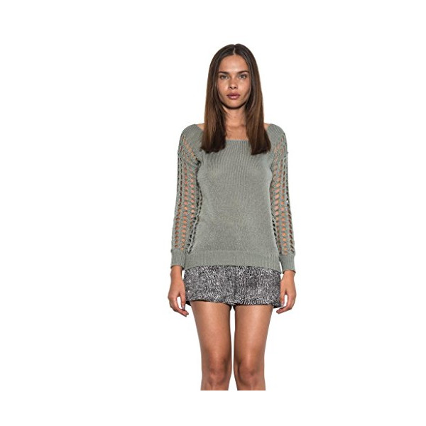 Dylan Pullover Open Holes Long Sleeve Knit Spring Sweater Sage One Grey Day-L