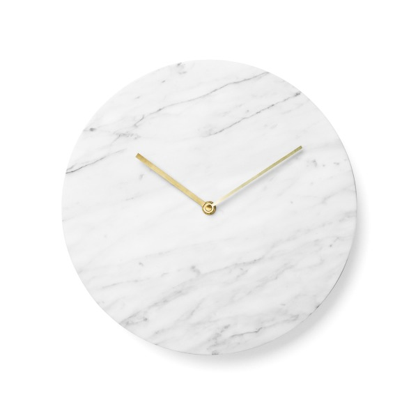 Menu Ideas Marble Clock, White with Lacquered Brass