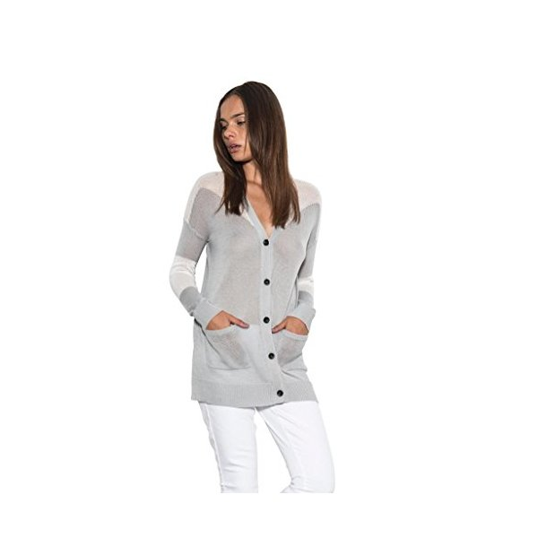 Women's Long Sleeve Riley Color Block Classic Knit Cardigan Spring-L