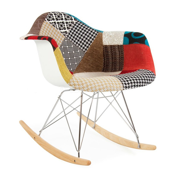 Eames Style RAR Patchwork Fabric Upholstered Rocking Rocker Chair
