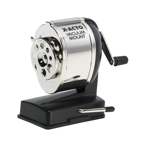 X-Acto Model KS, Vacuum-Mount Pencil Sharpener, Chrome Receptacle, Black Base, 1 Unit (1072)