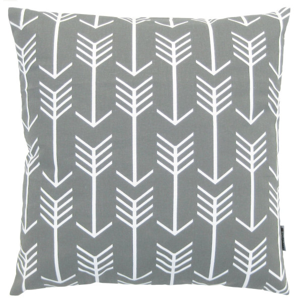 JinStyles Cotton Canvas Arrow Accent Decorative Throw Pillow Cover (Grey, White, Square, 1 Cover for 18 x 18 Inserts)