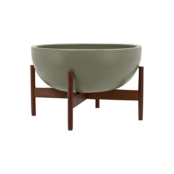 Modernica Ceramic Large Bowl Planter | Pebble / Wood Stand