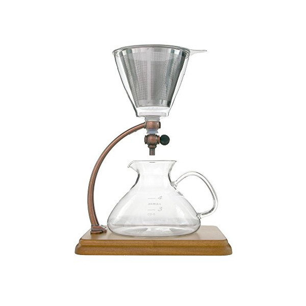 Yama Silverton Hot or Cold Coffee Dripper, Copper/Wood 18 oz.