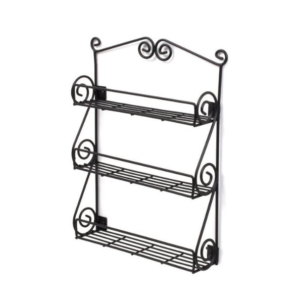 Spectrum Wall-Mountable Black Scroll Spice Rack, 38.4 x 30.8 x 7 cm