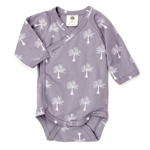Kate Quinn Organic Long Sleeve Kimono Bodysuit, Neutral Essentials, 6-12M (Tree)