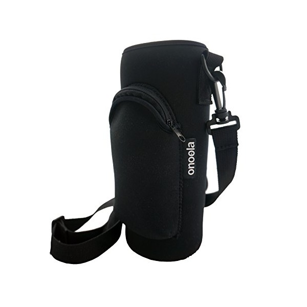 40oz Carrier Sleeve for Hydro Flask & Lifeline Fifty Fifty Bottles with Zipper Front Pocket and Adjustable Strap (Black)