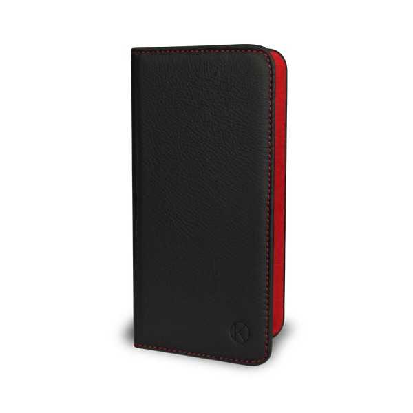 iPhone 6 Case - Kouros Folio - Genuine Italian Leather Case - Folio Cover (Black (Red Stitching + Red Lining))