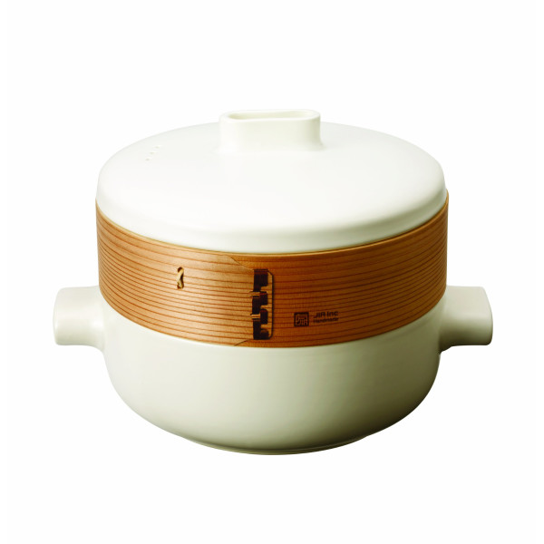 JIA Inc. Ceramic Steamer Pot, Lid, and Cedar Wood Basket