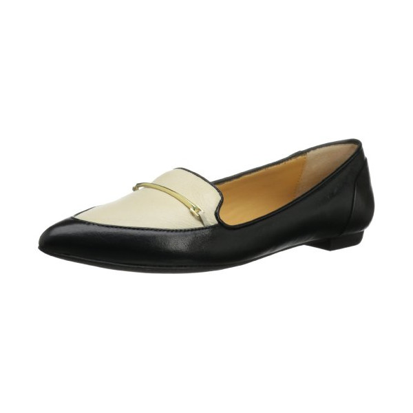 Dolce Vita Women's Giya Flat,Black/White Leather,7.5 M US