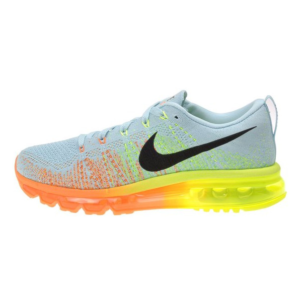 Nike Women's WMNS Flyknit Max, GLACIER ICE/BLACK-ATOMIC ORANGE-VOLT, 9.5 M US