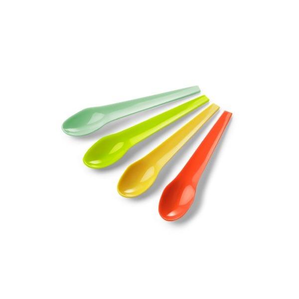 Authentics Eiko Spoon Set / Box 4 Pieces, Egg Spoon, Turquoise / Orange / Yellow / Mint, Plastic, 1028502