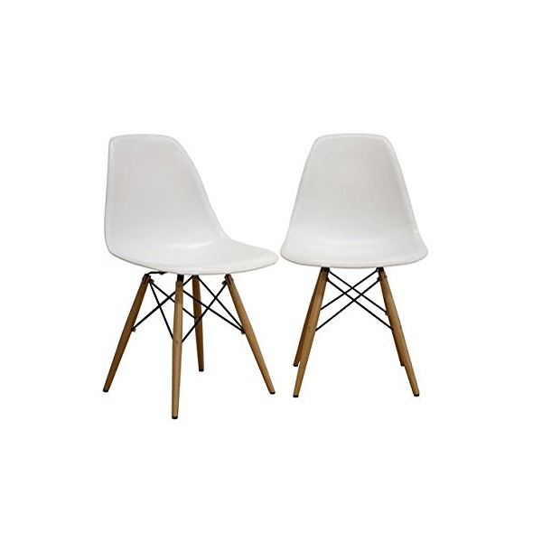 Fancierstudio Mid Century Modern Designer Chair Plastic Chair Side Chair Dinning Chair Eiffel Chair By Fancierstudio EM01w (set of 2)