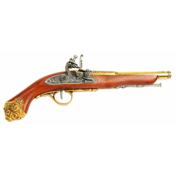 Denix 18th Century Flintlock Pistol with Brass Ornate Handle Butt