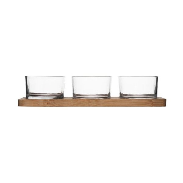 Sagaform Taste Bamboo Serving Set with 3 Glass Bowls