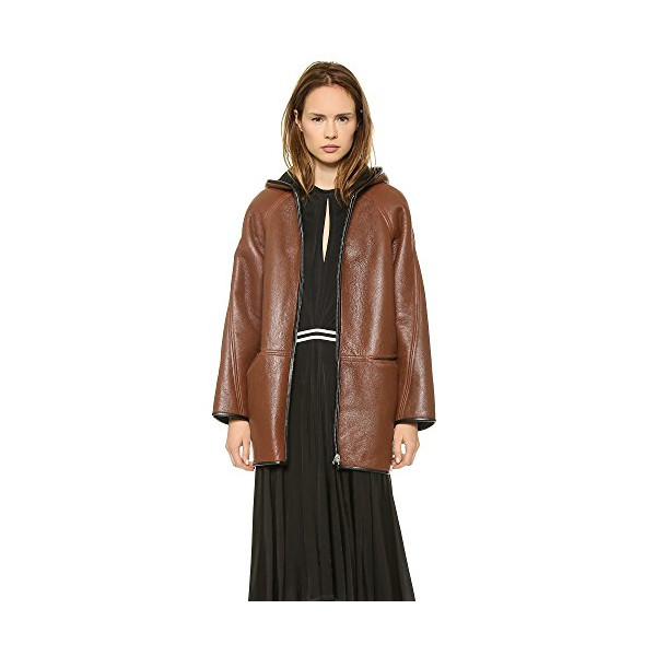 Faith Connexion Women's Reversible Leather Coat, Black/Cognac, X-Small