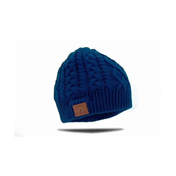 Tenergy Wireless Bluetooth Hands-Free Beanie Braid Cable Knit, Color Blue