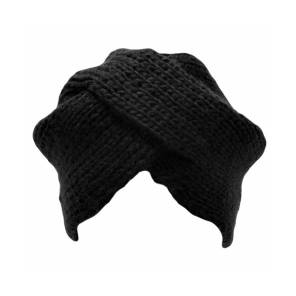 Black Thick Knit Turban Wrap Front Cap Hat