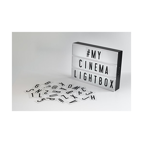 My Cinema Lightbox - Battery Powered LED Cinematic Lightbox with Interchangeable Letters, Numbers and Characters