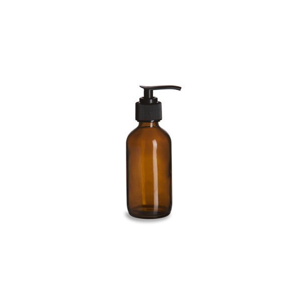 8 oz Amber Plastic Lotion / Soap Dispenser Bottle with Black Pump, 2 Pack