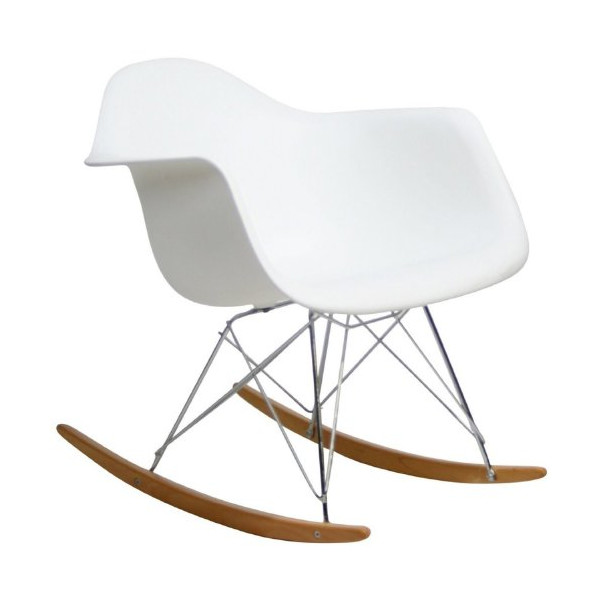 Home Life Retro Modern Rocking Lounge Cradle Chair with Ash-Wood Rockers - White