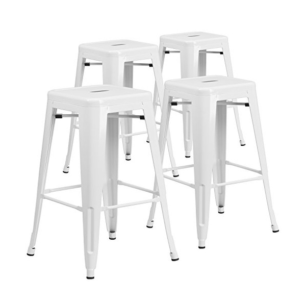 4 Pk. 30'' High Backless White Metal Indoor-Outdoor Barstool with Square Seat