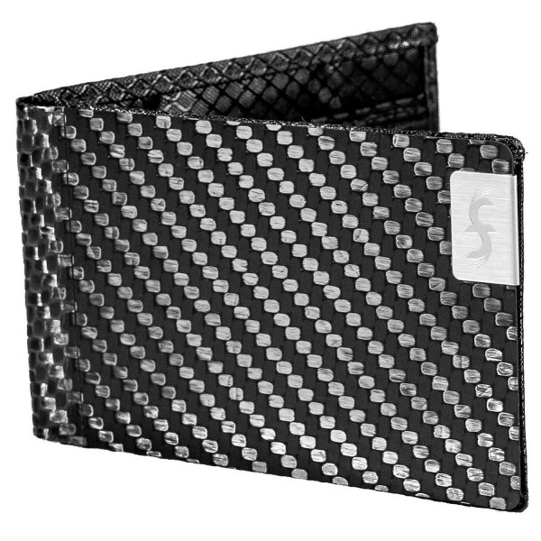 Common Fibers Mens Slim Carbon Fiber Wallet with RFID Protection (black)