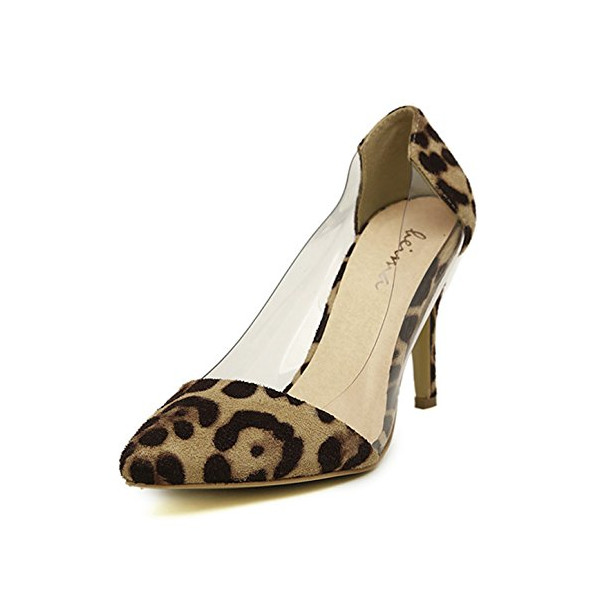 G Antini Ladies Shoes Pointed Toe Leopard Pattern Imitation Suede Upper Pumps