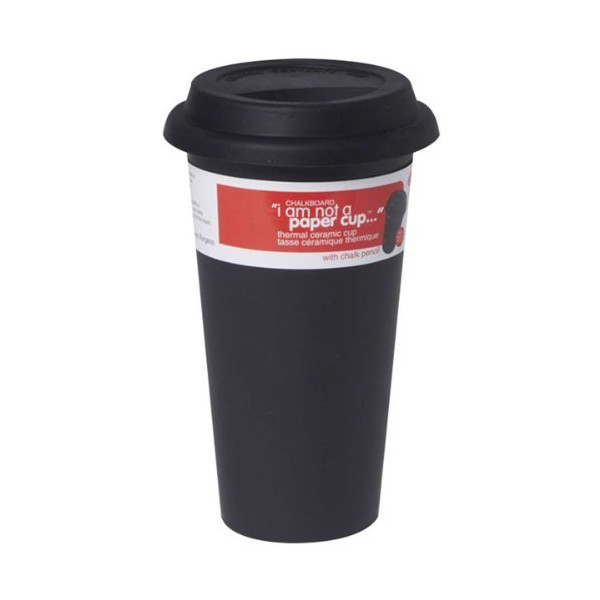 "DCI ""I Am Not A Paper Cup"" - Chalkboard Thermal Ceramic Mug 12 fl. oz"