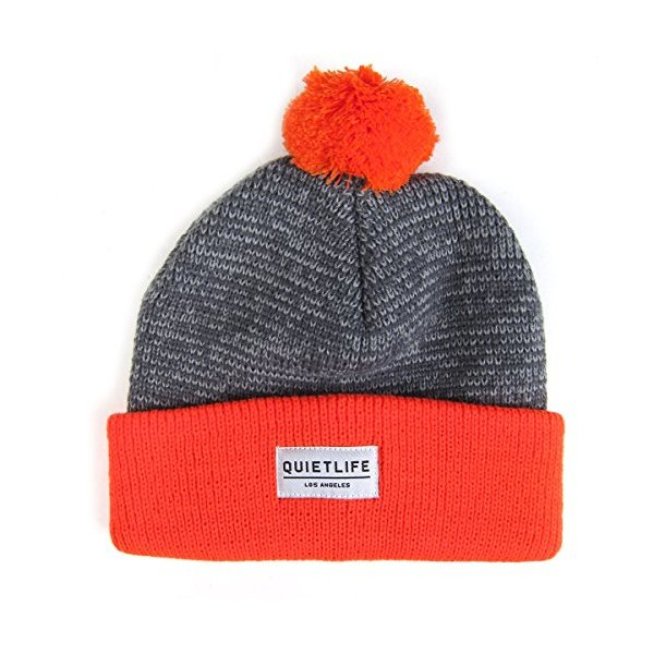 Quiet Life: Speckled Pom Beanie - Orange / Grey