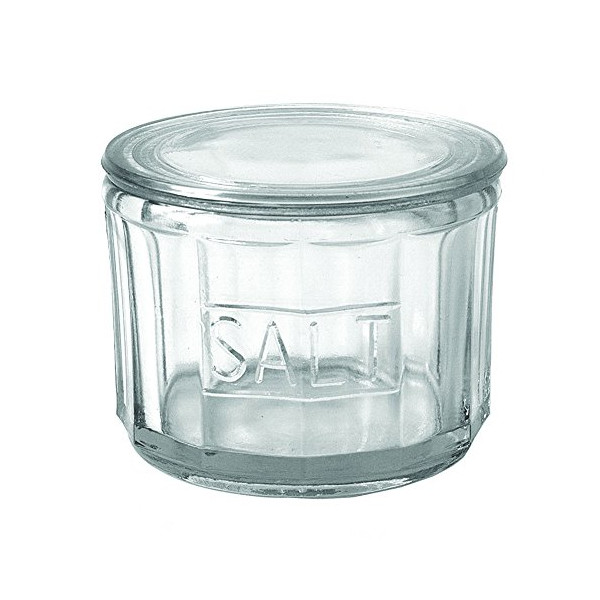 Casual Country Heavy Pressed Glass Salt Cellar with Lid