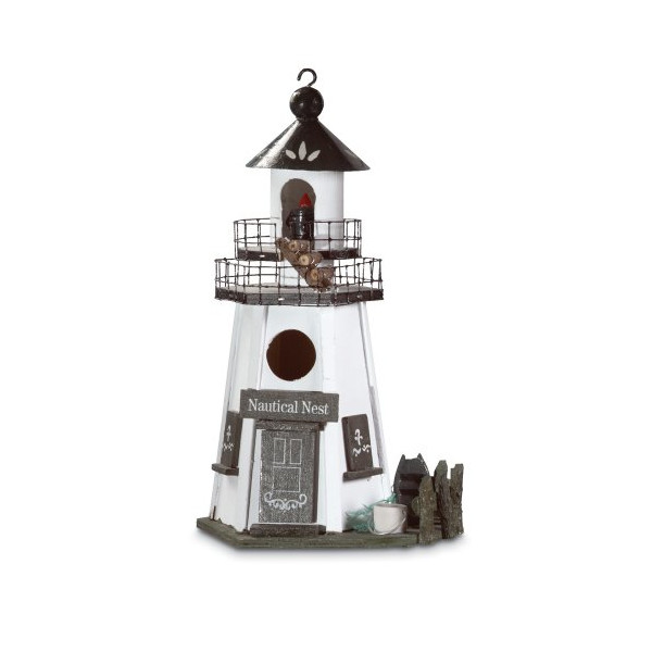 Gifts & Decor Nautical Nest Wood Lighthouse Bird House