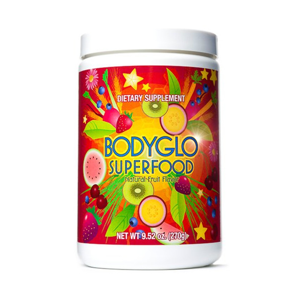 Superfood Powder BodyGlo for diet, weight loss, energy boost, detox or to blast away harmful free radicals from your body. Best plant based superfood nutritional supplement. 70 delicious fruits, greens & vegetables. Amazing vitamins & antioxidants. Better