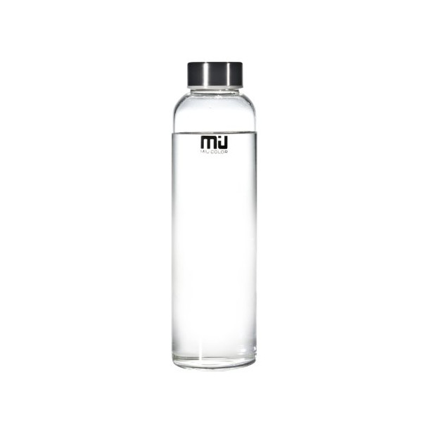 MIU COLOR® Stylish Portable Real Borosilicate Glass Water Bottle with black Nylon Sleeve, 550ml