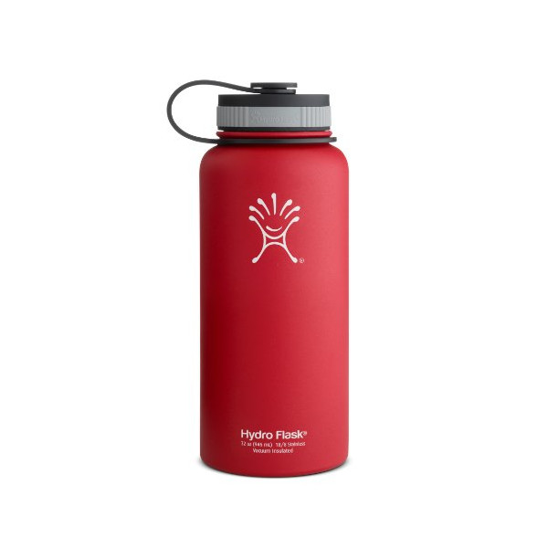 Hydro Flask Insulated Wide Mouth Stainless Steel Water Bottle, Lychee Red, 32-Ounce