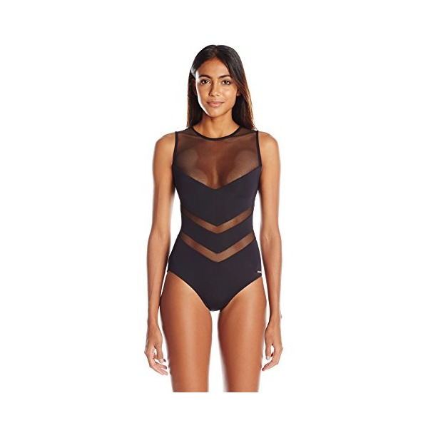 Vince Camuto Women's Luxe Mesh Solids High Neck One Piece Swimsuit, Black, 4