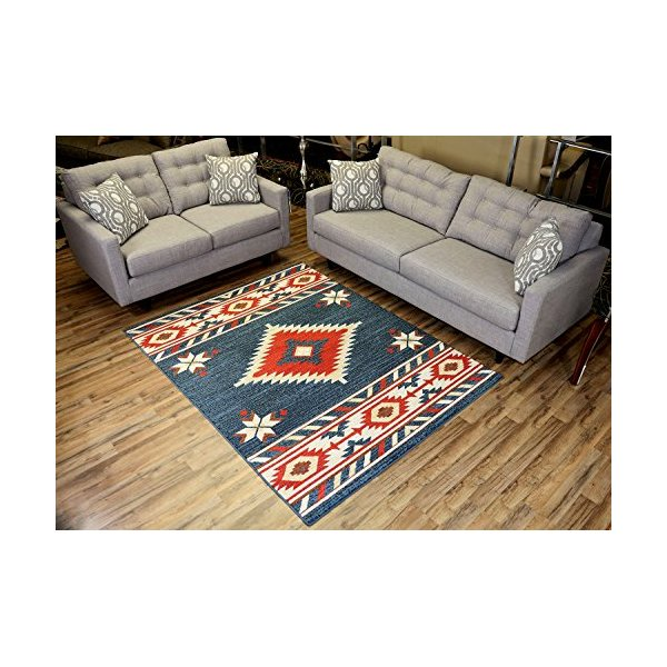 Nevita Collection Southwestern Native American Design Area Rug Rugs Geometric (Blue, 5 x 7)