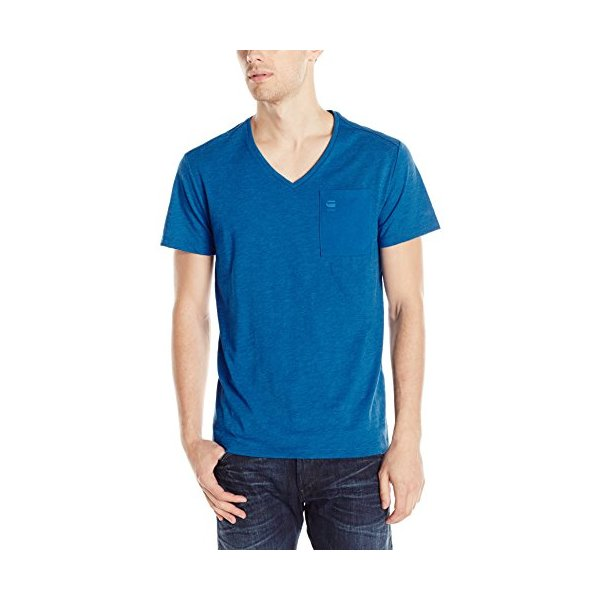 G-Star Raw Men's Mazuren Short Sleeve V-Neck Tee In Jisoe Jersey Dark Pop Blue, Dark Pop Blue, Large