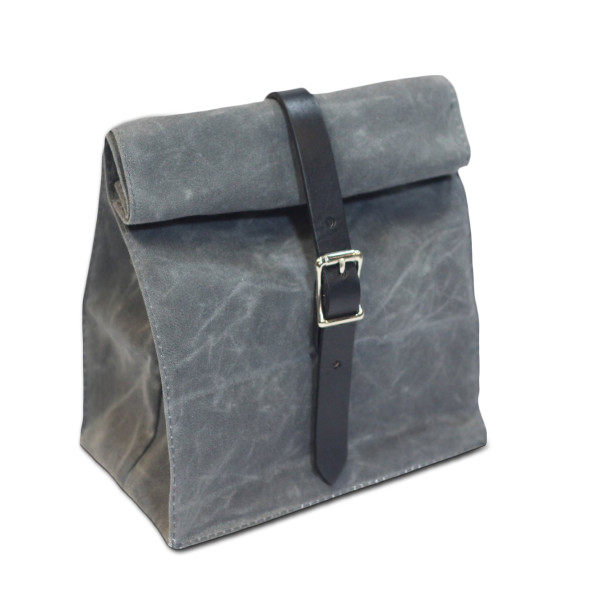 Hardmill Lunch Tote, Waxed Canvas, Charcoal
