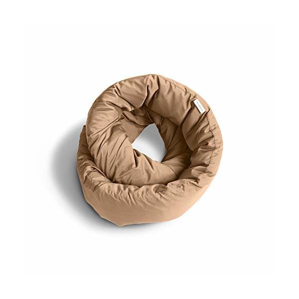 Huzi Infinity Pillow - Design Power Nap Pillow, Travel and Neck Pillow (Tan)
