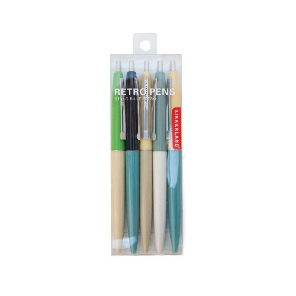 Kikkerland Retro Pens, Set of 5, Multi