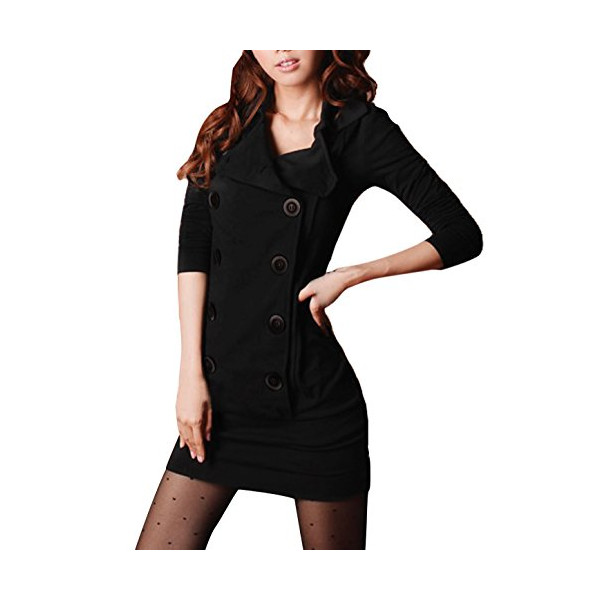 Allegra K Women Convertible Collar Long Sleeve Double Breasted One-Piece Dress