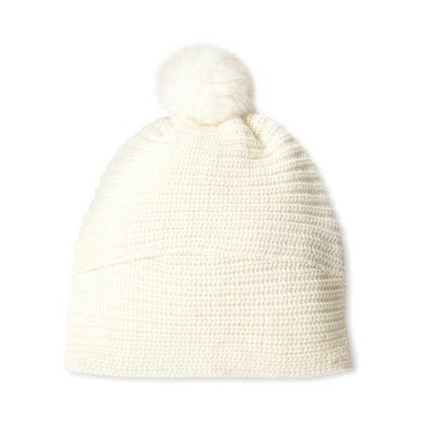 Echo Design Women's Blend Hat with Rabbit Pom, Vanilla, One Size