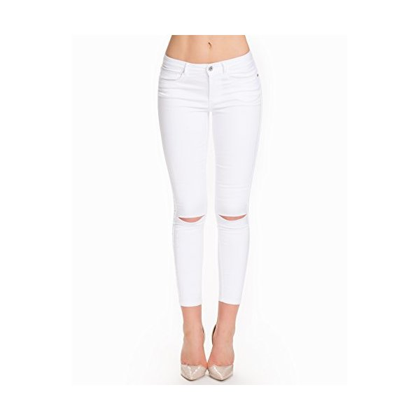 Only Women's Royal Reg Sk Kneecutankel White Size L/34 69% cotton, 29% polyester and 2% elastane.