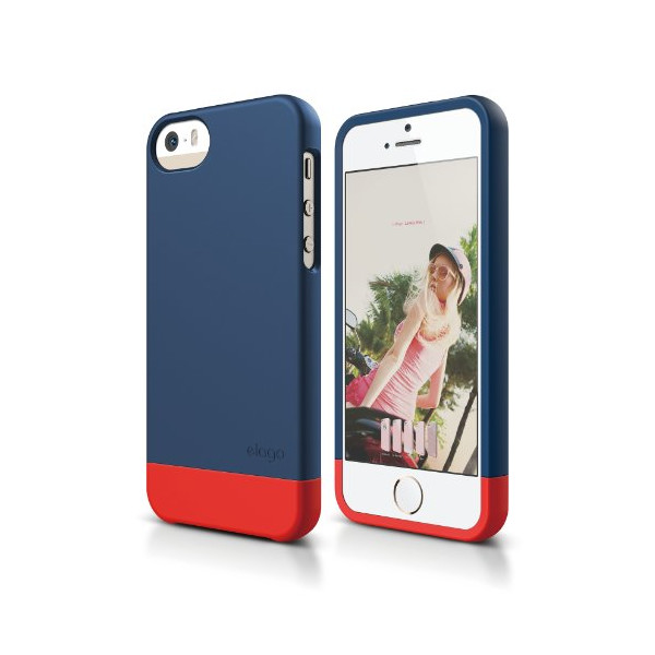 elago S5 Glide Case Limited-Edition for iPhone 5/5S - eco friendly Retail Packaging (Jean Indigo / Red)