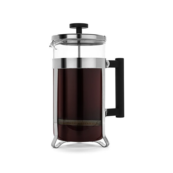 FP Coffee Makers - French Press w/ Glass Carafe and Sturdy Chrome Metal Frame with Stainlesss Steel Plunger. Perfect Coffee and Tea maker, 1 liter, 34 fl. oz, 8 cup capacity.