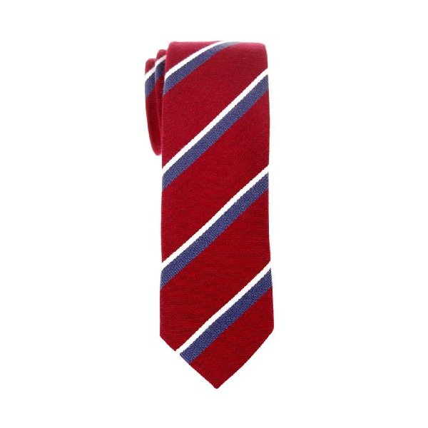 "Retreez Preppy Striped Woven Cotton Blend Men's 2.4"" Skinny Tie - Burgundy and Navy Blue"