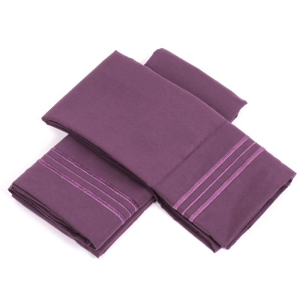 1500 Thread Count Supreme Collection 4pc Bed Sheet Set Deep Pocket - All Size, 12 Colors - Queen, Purple