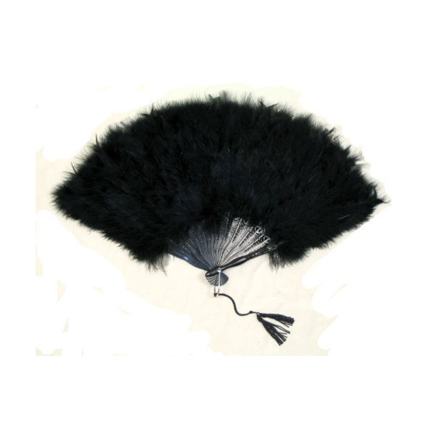 SACAS Large Black Feather Hand Fan New