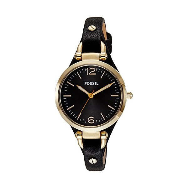 Fossil Women's ES3148 Georgia Three-Hand Gold-Tone Stainless Steel Watch with Leather Band